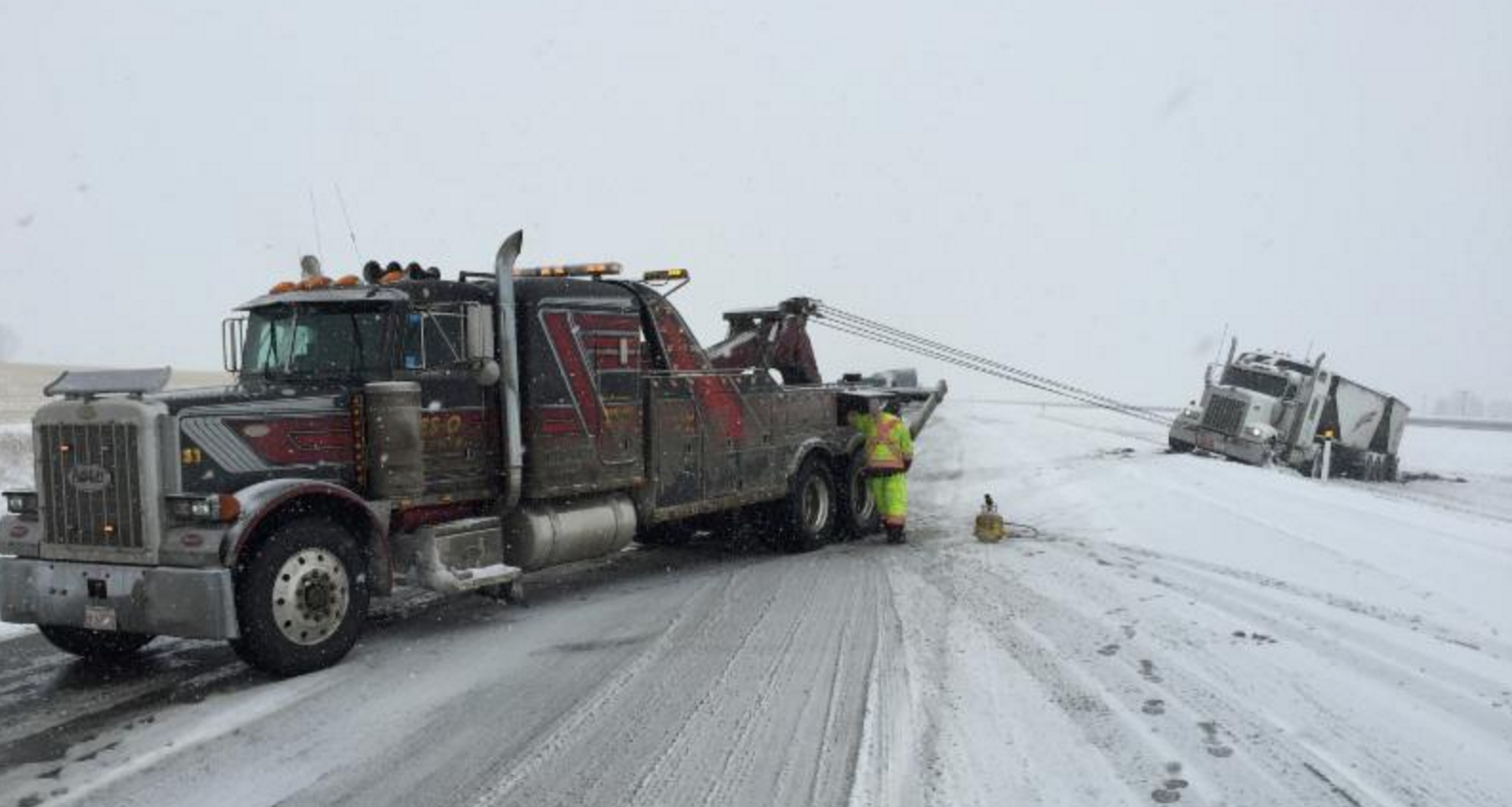 Heavy Towing Recovery Semi Truck Snow Toronto